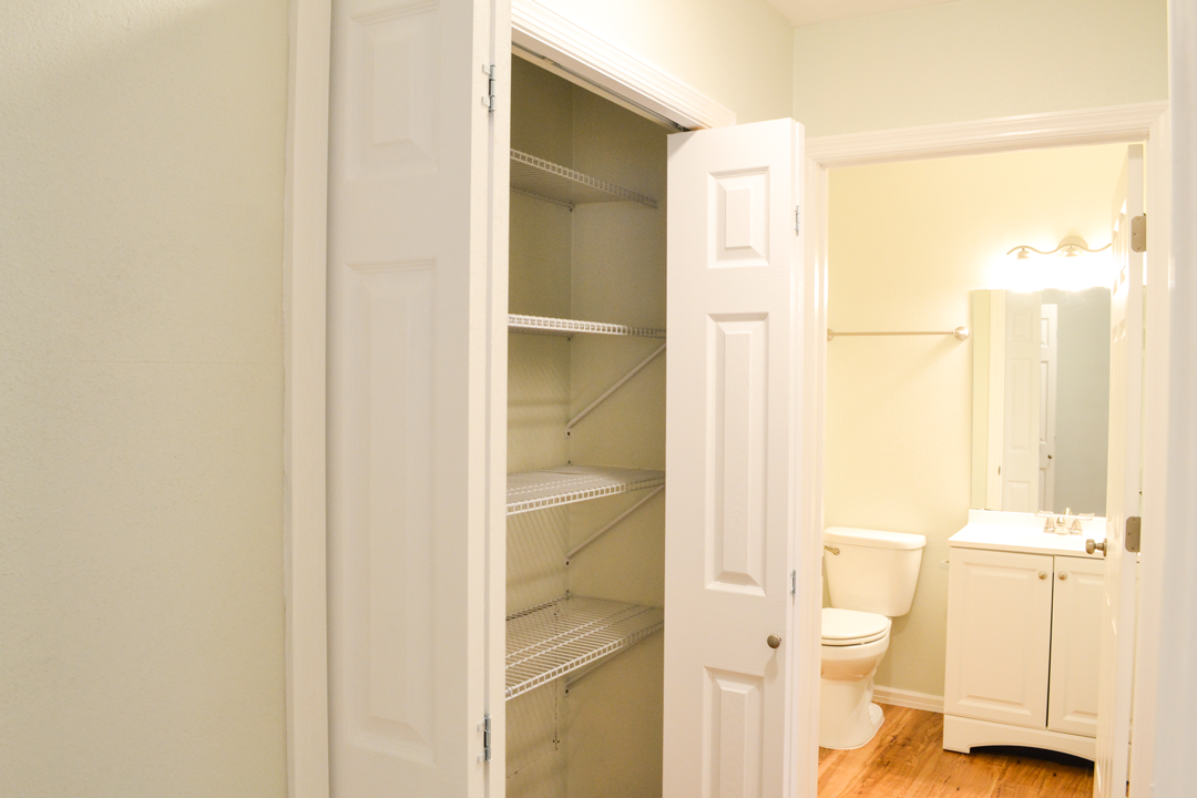 Linen Closet leading into Bathroom