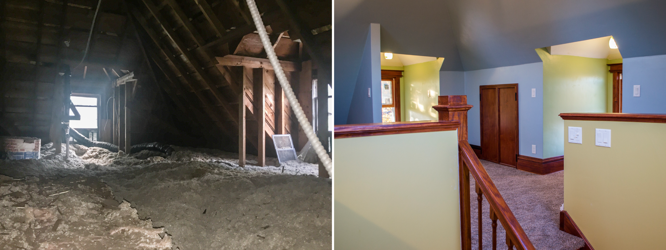 Before and after of a Victorian attic space